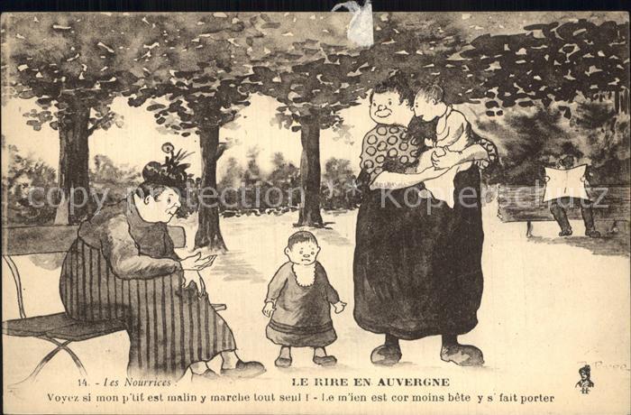Auvergne Region Le rire en Auvergne les nourrices Dessin Karikatur Kat. Clermont Ferrand