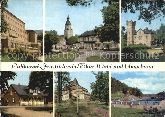 Friedrichroda FDGB Heim Walter Ulbricht Kurpark Schloss Reinhardsbrunn Spiessberghaus Schwimmbad Kat. Friedrichroda