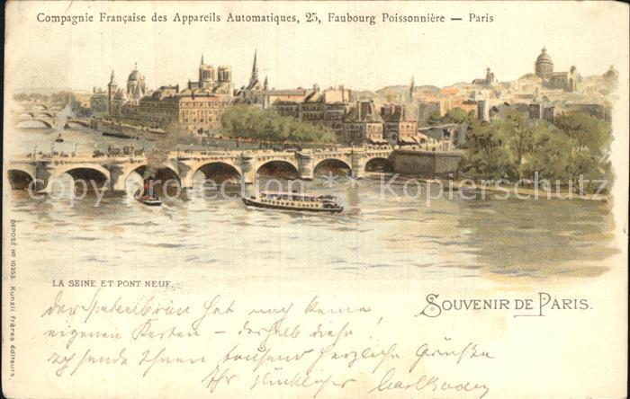 Paris Seine Pont Neuf Lithographie Kat. Paris