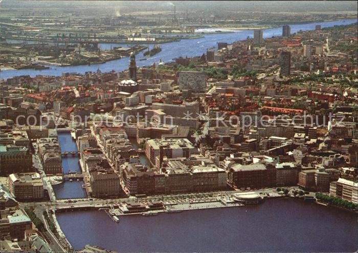 Hamburg Fliegeraufnahme Jungfernstieg mit Blick zur Elbe Kat. Hamburg