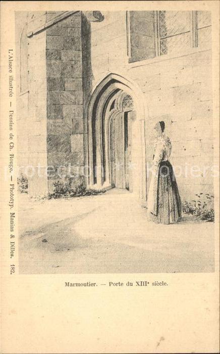 Marmoutier Porte du XIII siecle L Alsace illustree Dessin de Charles Rouge Kat. Marmoutier