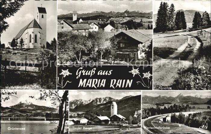 Maria Rain Allgaeu Gruentensee Wertachtalbruecke Alpspitze Zugspitze  Kat. Mittelberg Oy