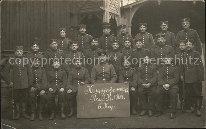 Regiment IR 106 Infanterie Gruppenfoto Reserve Infanterie Regiment 106 Doebbeln WK1