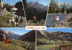 Pettnau Tirol Sessellift Partie am Bach  Tracht Kat. Pettnau