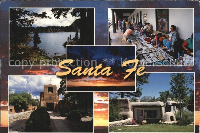 Santa Fe New Mexico Lake Katherine Palace of the Governors Adobe House Church Kat. Santa Fe