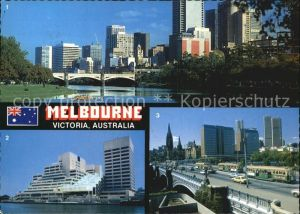 Melbourne Victoria Skyline Yarra River World Trade Center Trams of Princes Bridge Kat. Melbourne
