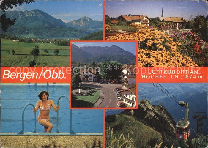 Bergen Chiemgau Panorama Teilansicht Schwimmbad Seilbahn Kat. Bergen