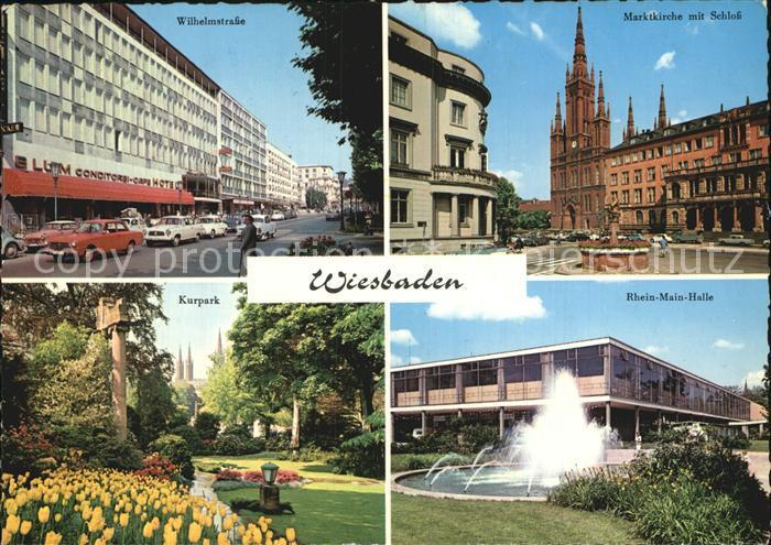 Wiesbaden Wilhelmstr Marktkirche mit Schloss Kurpark Rhein Main Halle Kat. Wiesbaden