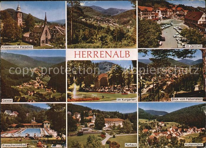 Bad Herrenalb Klosterruine Paradies Zentrum Gaistal Kurgarten Falkensteinblick Schwimmbad Kurhaus Kullenmuehle Kat. Bad Herrenalb