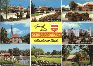 Schneverdingen Einkaufszentrum Verkehrsamt Rathaus Ev Kirche Hallenbad Quellenbad Partie im Suedpark Heimathaus Kat. Schneverdingen