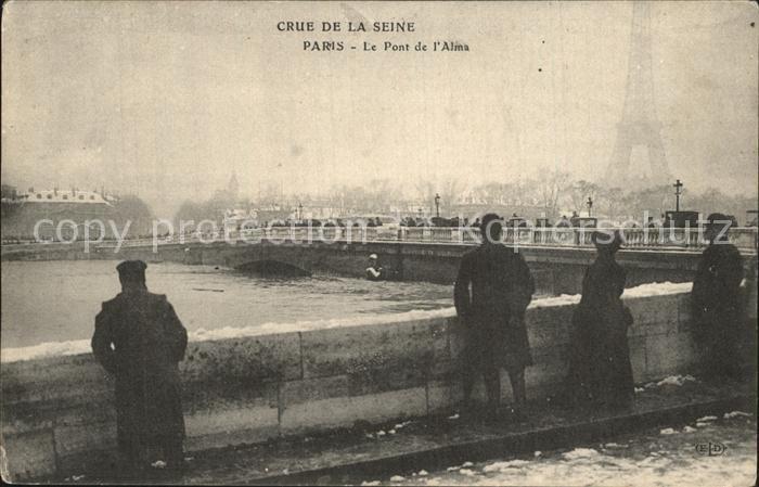 Paris Crue De La Seine Le Pont D Alma Hochwasser Katastrophe