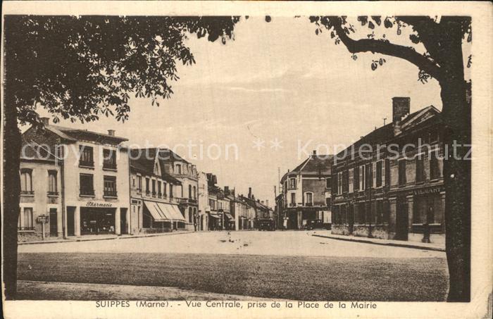 Suippes Vue centrale prise de la Place de la Mairie Kat. Suippes