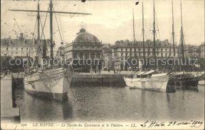 Le Havre Bassin du Commerce Bateaux et le Theatre Kat. Le Havre