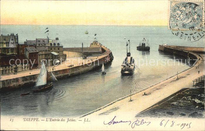 Dieppe Seine Maritime Entree des Jetees Bateaux Kat. Dieppe
