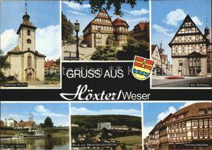 Hoexter Weser Nikolay Kirche Rathaus Weserberglandklinik Fachwerkhaeuser Kat. Hoexter