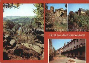 Zschopautal Wolkensteiner Schweiz Burg Scharfenstein und Wolkenstein Warmbad  Kat. Zschopau
