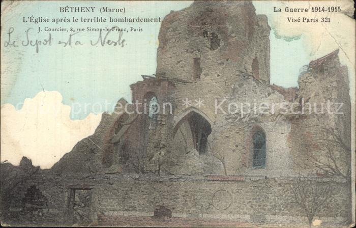 Betheny Eglise apres le bombardement Grande Guerre 1914 15 Ruinen 1. Weltkrieg Kat. Betheny