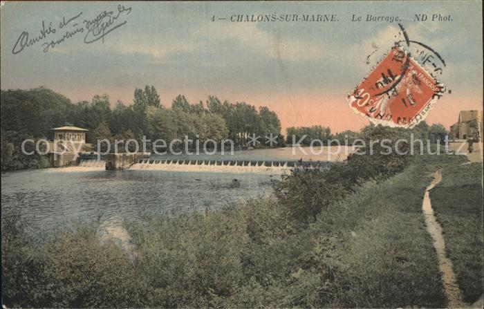 Chalons sur Marne Ardenne Le Barrage sur la Marne Kat. Chalons en Champagne