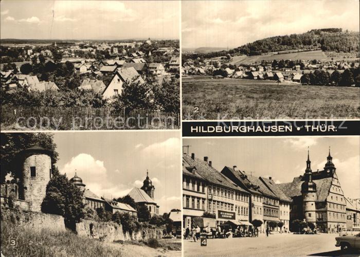 Hildburghausen Blick vom Haselrieth Wallrabs Stadtmauer Marktplatz Kat. Hildburghausen