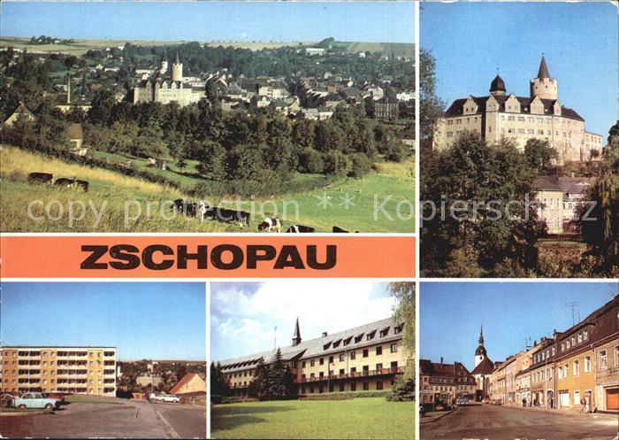 Zschopau Panorama Schloss Wildeck Stadtblick Warmbad Bergarbeitersiedlung Pawlow Haus Leninplatz Kat. Zschopau