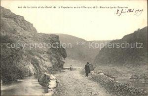 Villerest Vue de la Loire et du Canal de la Papeterie Kat. Villerest