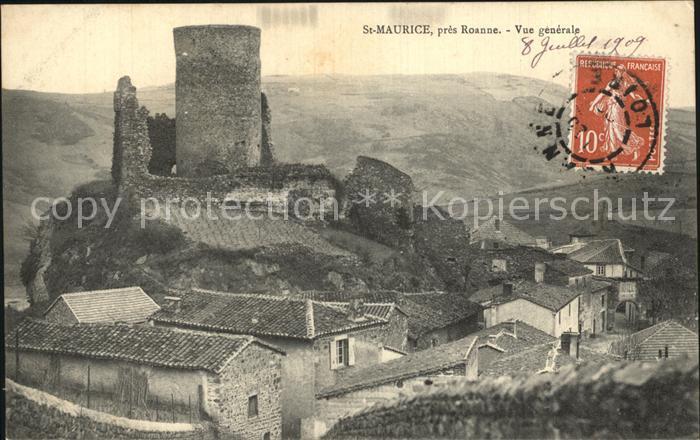 Saint Maurice sur Loire Vue generale Ruines du Chateau Kat. Saint Jean Saint Maurice sur Loire