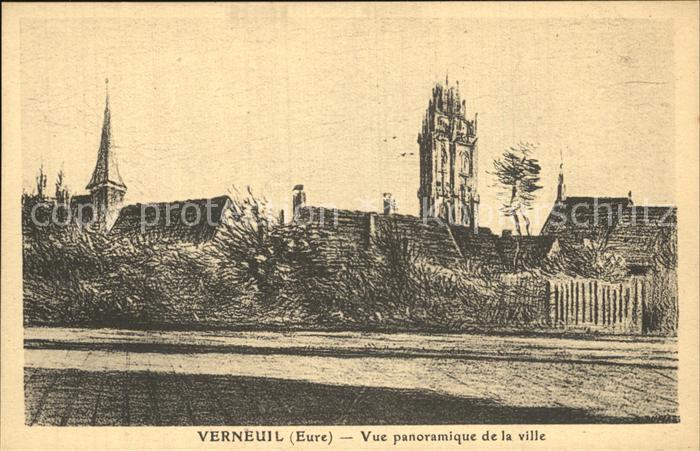 Verneuil sur Avre Vue panoramique de la ville Dessin Kuenstlerkarte Kat. Verneuil sur Avre