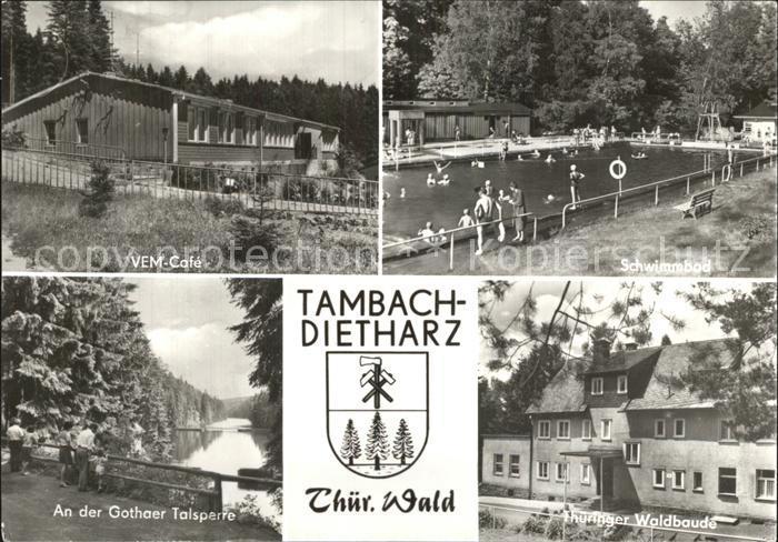 Tambach Dietharz Cafe An der Gothaer Talsperre Waldbaude Schwimmbad Kat. Tambach Dietharz
