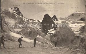 Chamonix Route du Mont Blanc La Jonction Mer de Glace Bergsteiger Gletscher Kat. Chamonix Mont Blanc