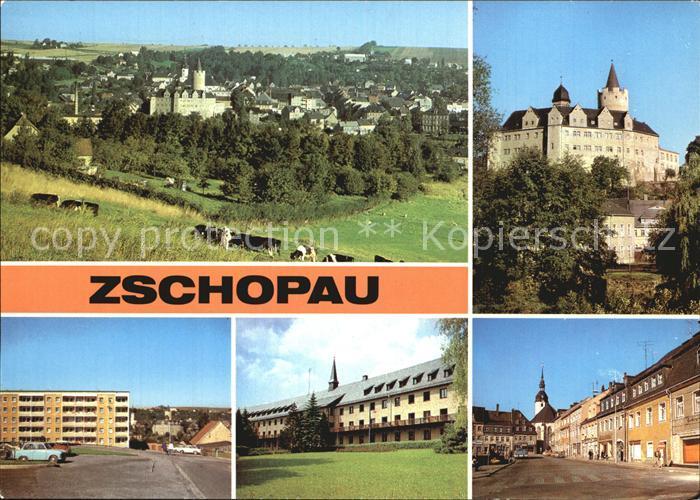 Zschopau Schloss Wildeck Stadtblick Warmbad Leninplatz Kat. Zschopau