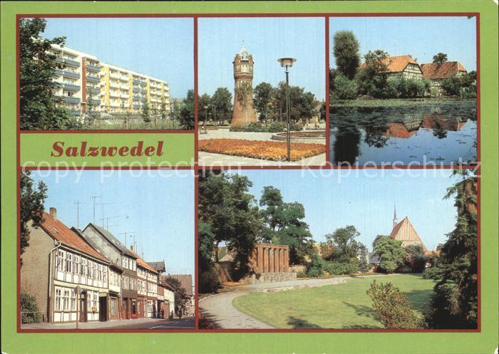 Salzwedel Friedensberg Wasserturm Pfefferteich Burggarten  Kat. Salzwedel
