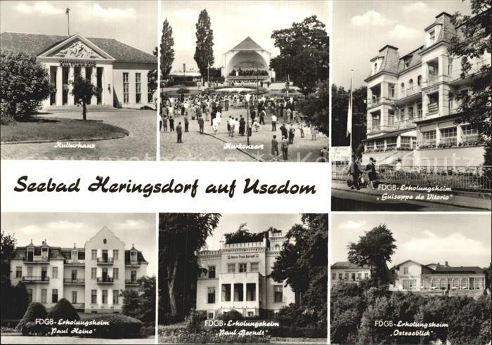Heringsdorf Ostseebad Usedom Kulturhaus Kurkonzert FDGB Heim Paul Heine Ostseeblick  Kat. Heringsdorf
