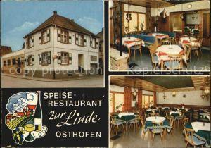 Osthofen Rheinhessen Gasthaus Zur Linde Kat. Osthofen