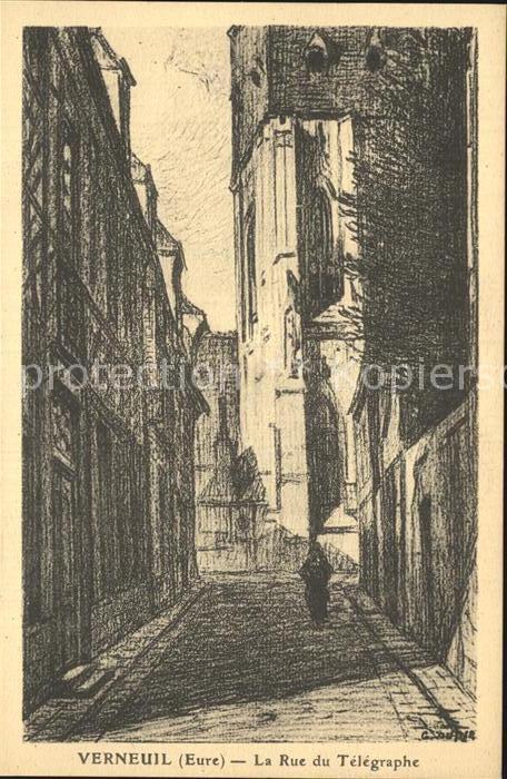 Verneuil sur Avre La Rue du Telegraphe Dessin Kuenstlerkarte Kat. Verneuil sur Avre