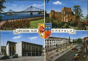 Krefeld Rheinbruecke Burg Linn Stadttheater Ostwall Kat. Krefeld