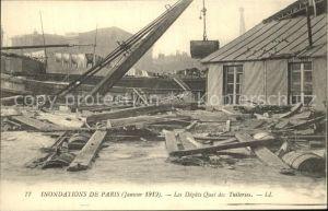 Paris Inondations La Crue de la Seine Hochwasser Katastrophe Kat. Paris