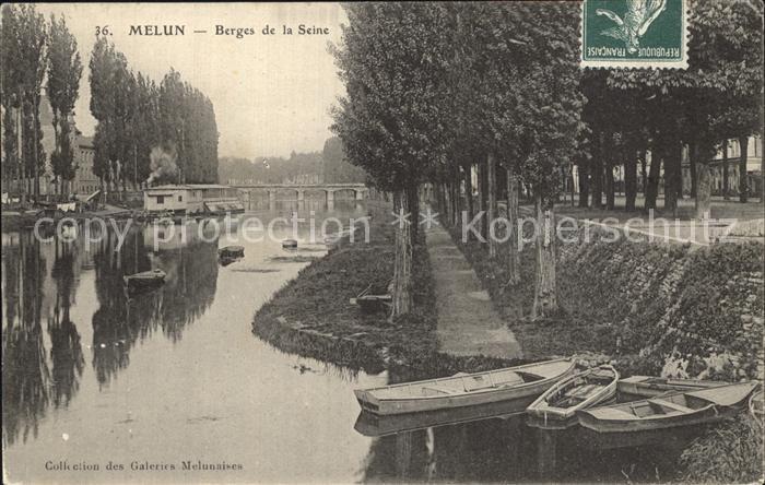 Melun Seine et Marne Berges de la Seine Bateaux Promenade Kat. Melun