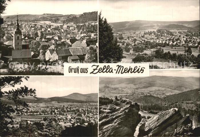 Zella Mehlis Panorama vom Ringweg vom Schwarzen Kopf und von den Kaltenbrunner Steinen Kat. Zella Mehlis