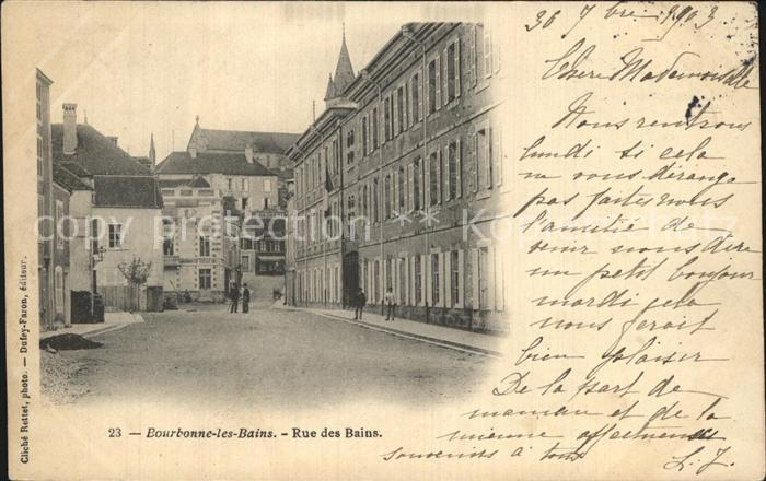 Ak ansichtskarte bourbonne les bains haute marne hotel for Rue des bains
