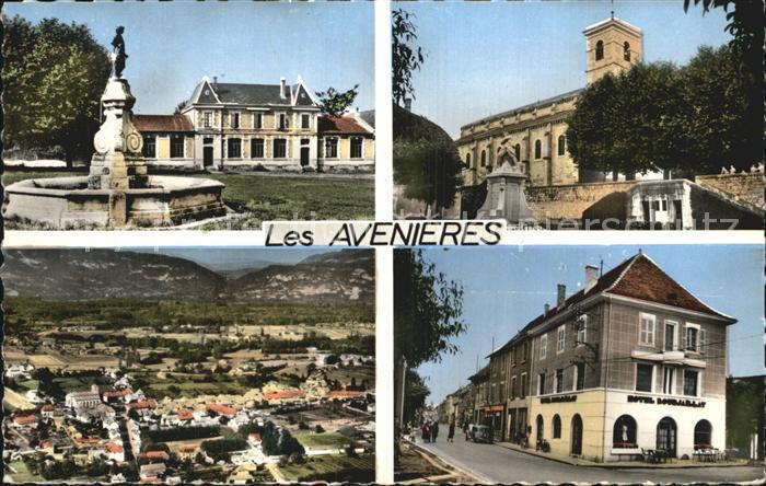 Les Avenieres Fontaine Monument Eglise Hotel vue aerienne Kat. Les Avenieres