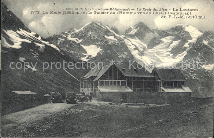 Le Lautaret La Meije Glacier de l Homme vus du Chalet Restaurant Route des Alpes Kat. Saint Vincent les Forts