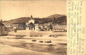 Le Lavandou Maisons sur le Port Peinture Kuenstlerkarte Kat. Le Lavandou