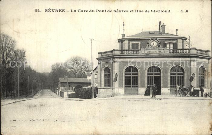 Sevres La Gare du Pont de Sevres Rue de Saint Cloud Kat. Sevres