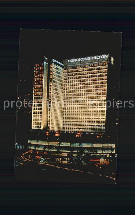 Hongkong Hilton Hongkong at night Kat. China
