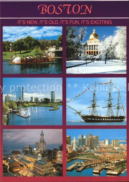 Boston Massachusetts Swan Boat Skyline Faneuil Hall Marketplace Waterfront State Capitol  Kat. Boston