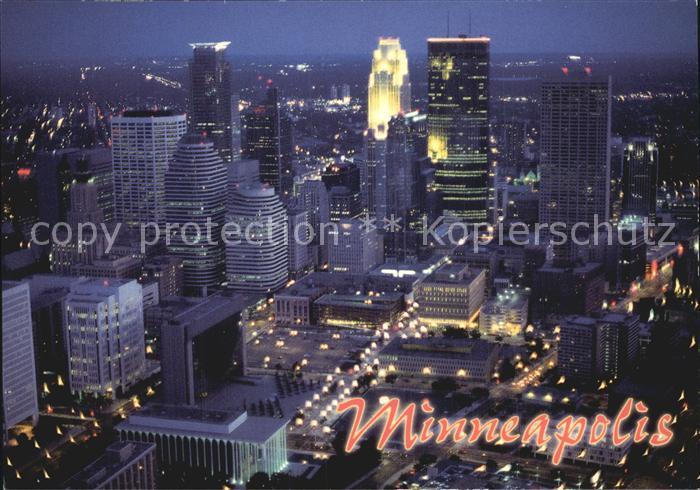 Minneapolis Minnesota Fliegeraufnahme Bei Nacht Kat. Minneapolis