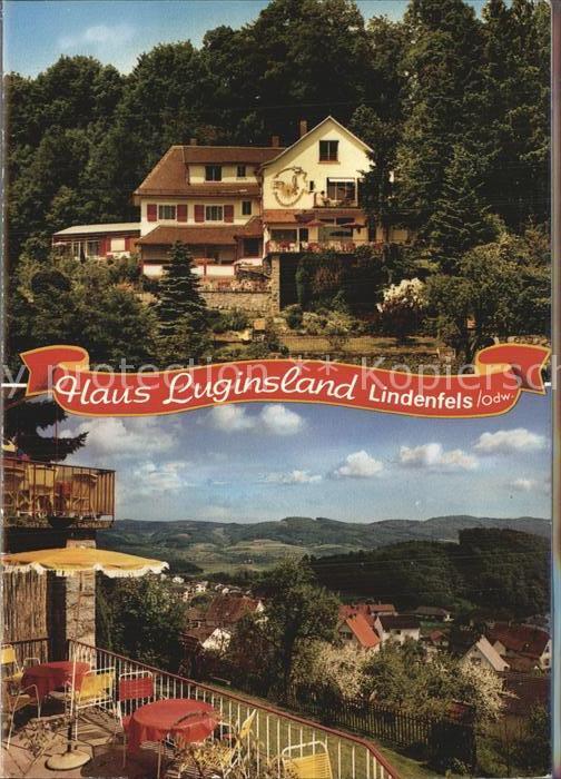 Lindenfels Odenwald Haus Luginsland Aufklappkarte  Kat. Lindenfels