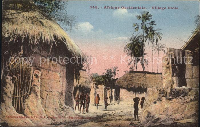 Afrique Occidentale Village Diola Kat. Typen Volksleben