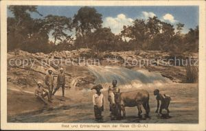 Deutsch Ostafrika Rast und Erfrischung nach der Reise DOA Missionshaus Zabern Kat. Deutsch Ostafrika