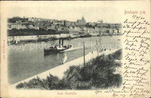 Boulogne sur Mer Quai Gambetta mit Dampfer Kat. Boulogne sur Mer